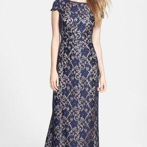 Eliza J Long Crochet Dress SIZE 8 NAVY